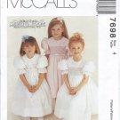 McCall's 7698 SMOCKED DRESS Girls 4 New OOP