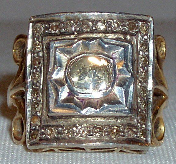 Antique 18k diamond ring Victorian mine cut 1 carat diamond, solid yellow gold