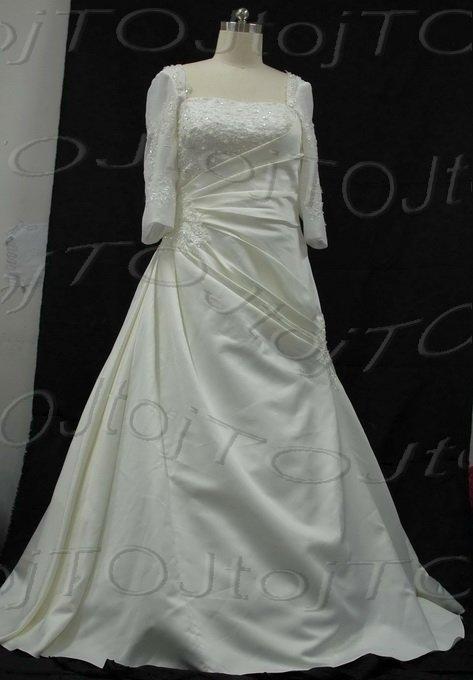 Medium Sleeves A-Line Wedding Gown-CH0028
