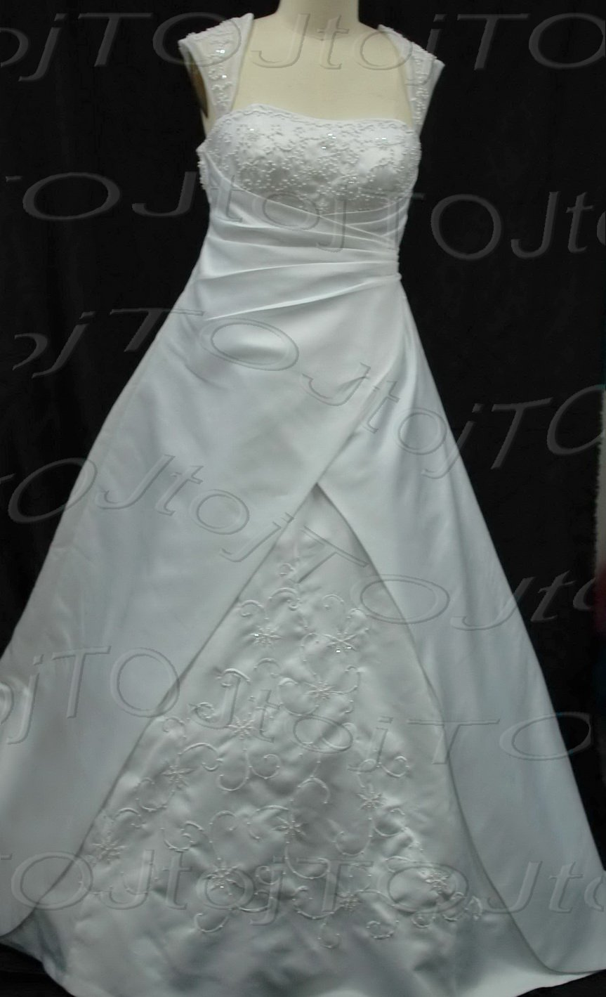 Cap sleeves A-Line Wedding Gown-CH0064