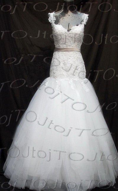 Cap sleeves sweet heart mermaid wedding gown-Har55