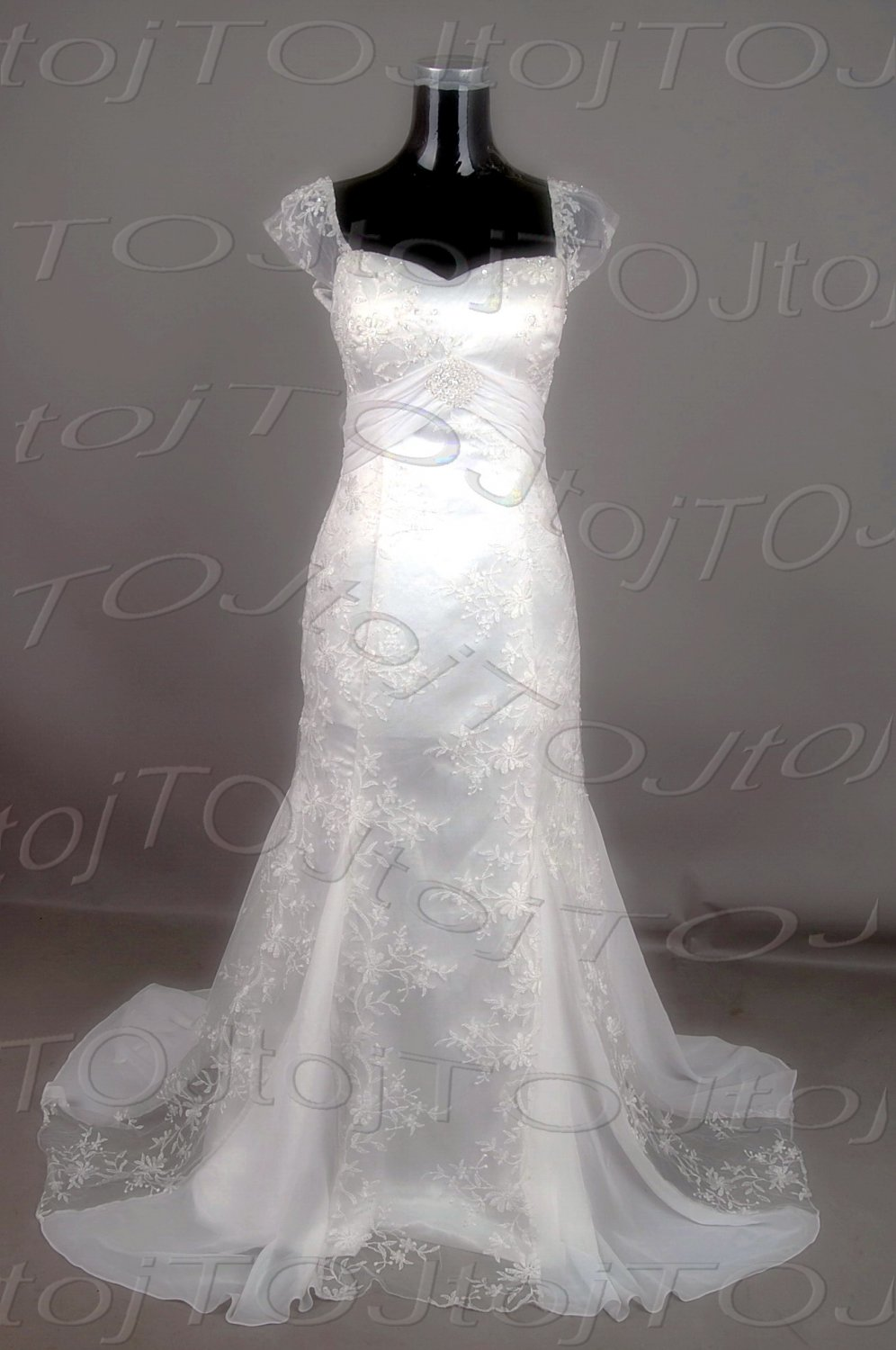 Cap sleeves sweet heart mermaid wedding gown-CWWG400
