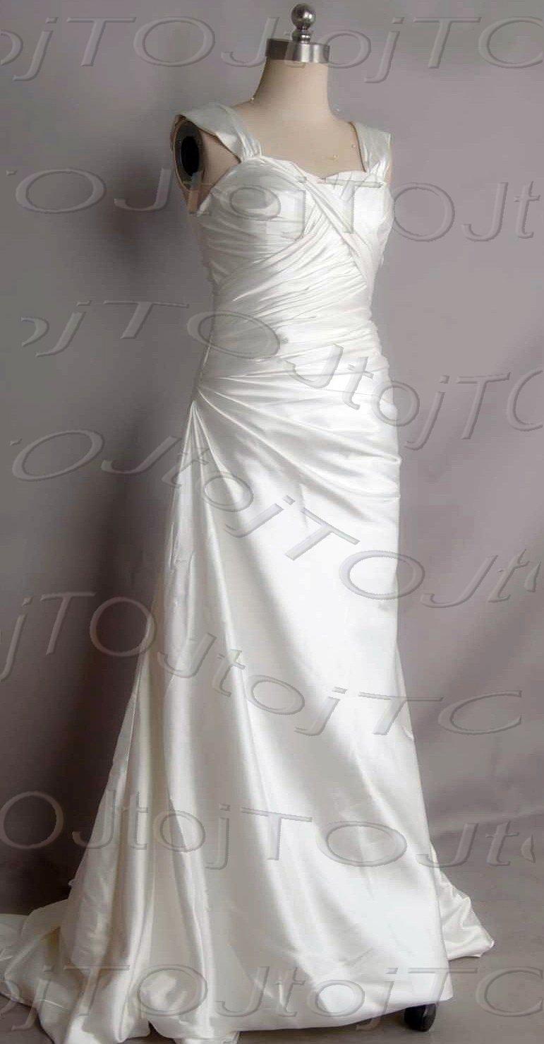 Cap sleeves sweet heart A-line wedding gown-DWG0898