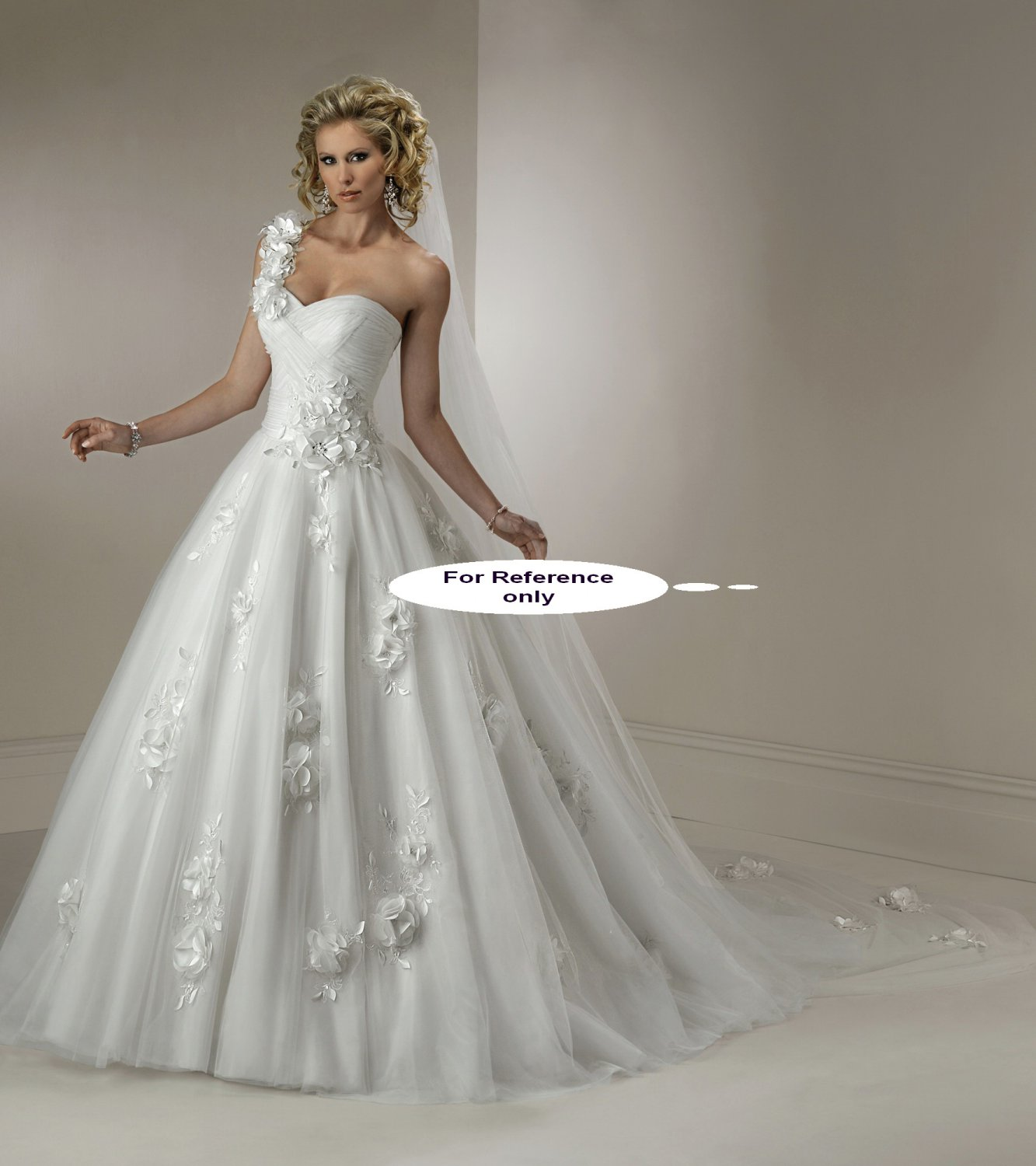 Sweet heart one shoulder ball gown-1425