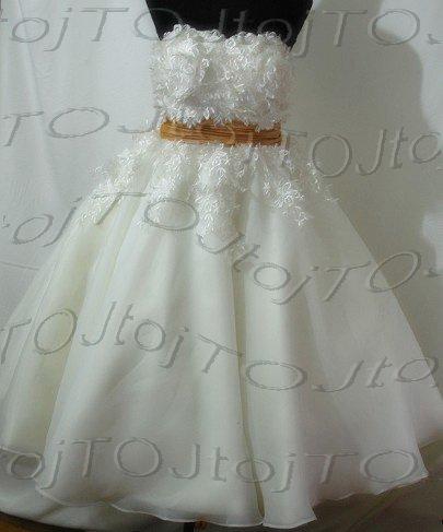 Strapless short ball wedding gown-84656