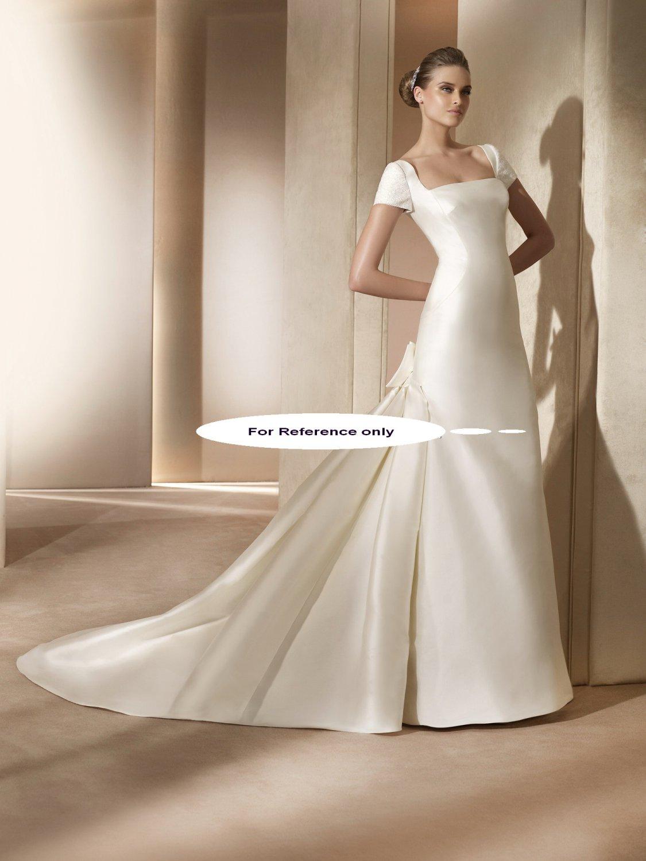 Square neck sheathwedding gown-Amatista