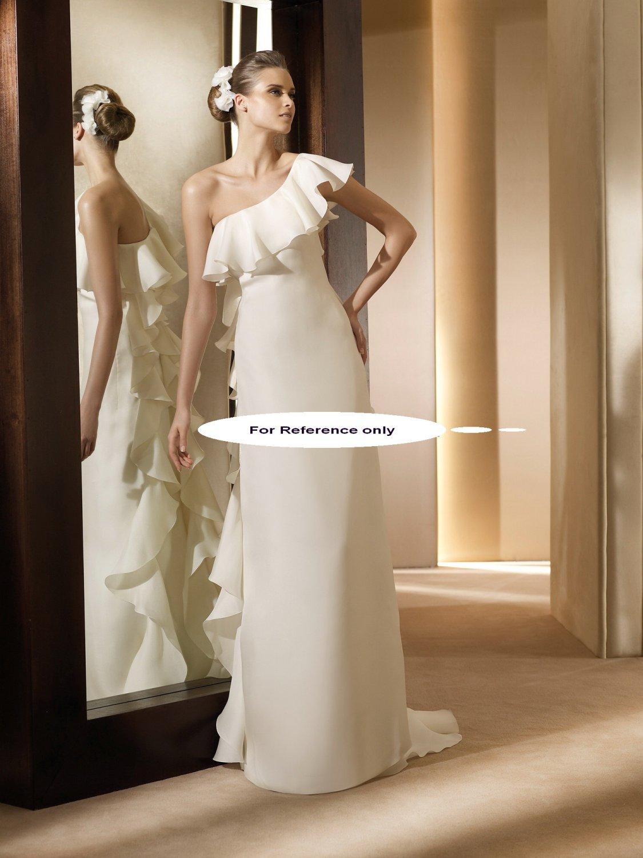 One shoulder sheath wedding gown-Anade