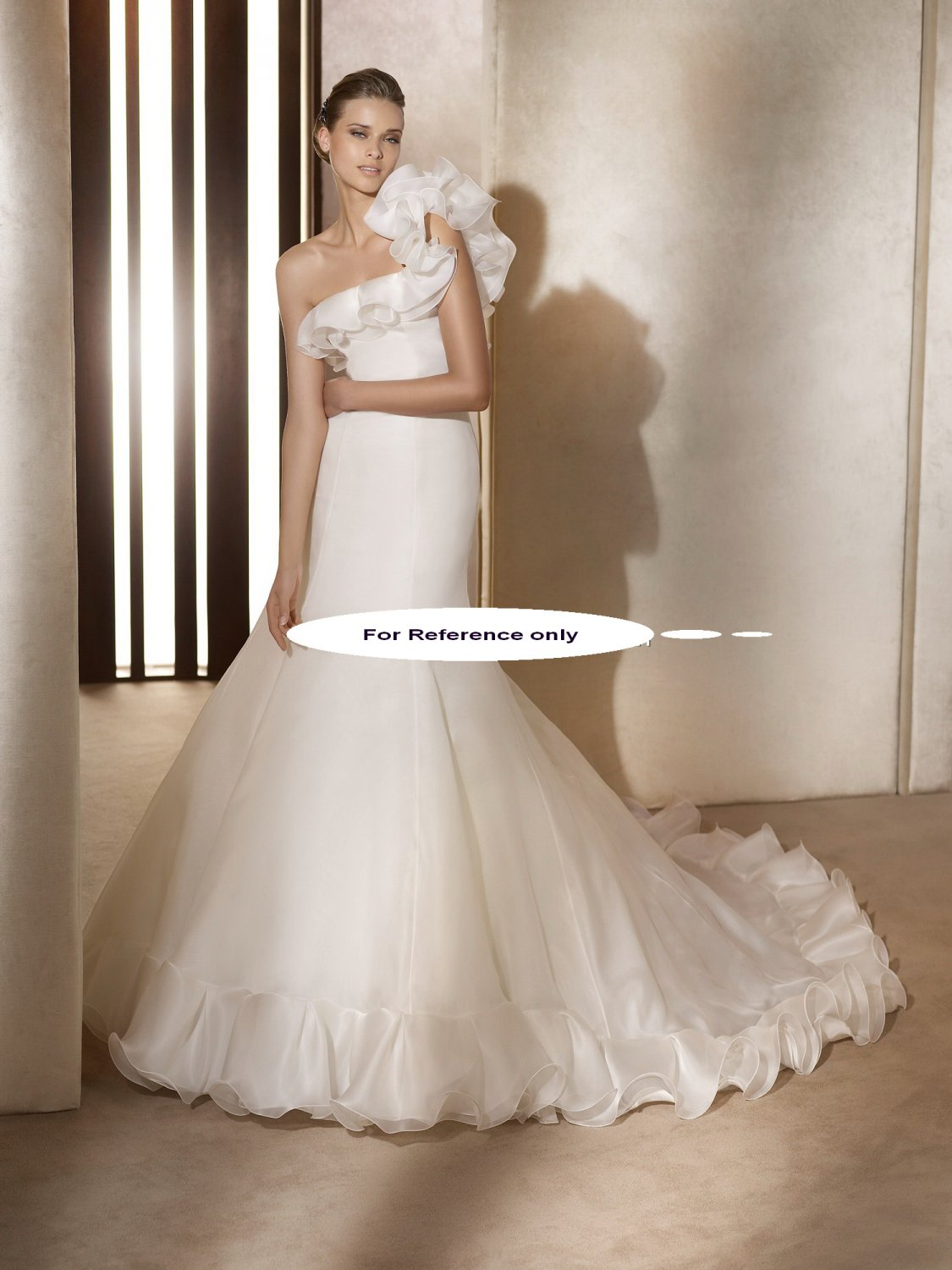 One shoulder A-line wedding gown-Arpa