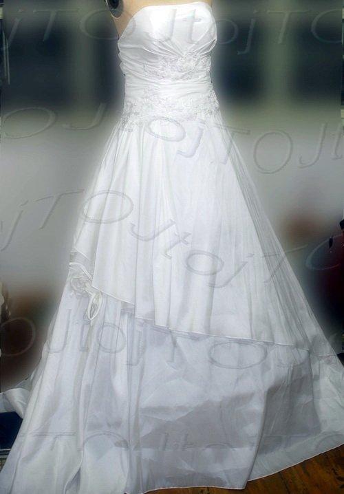 Strapless A-line medium train wedding gown-0413