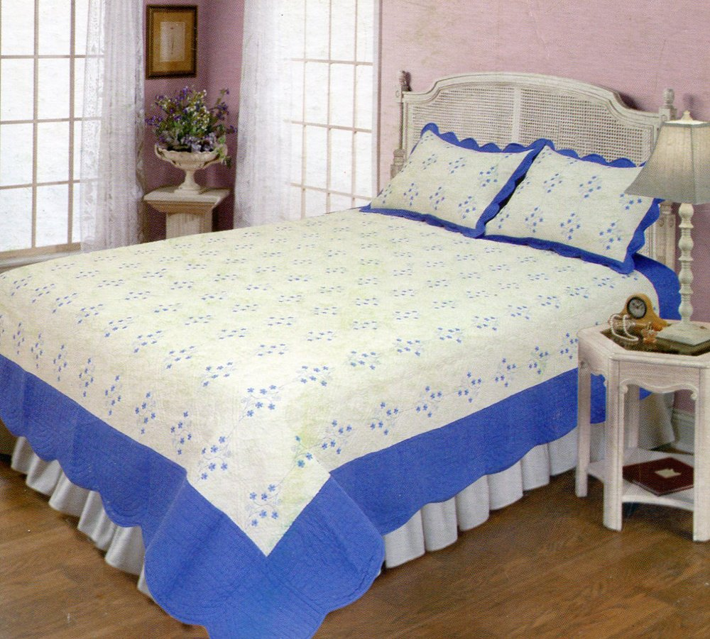 4pcs white and blue color bedding set AY-1105
