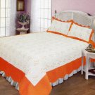 4pcs white and orange color bedding set AY-1108