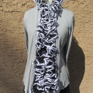 ❤ Handmade BLACK & WHITE Ruffled RUFFLE SCARF spiral net yarn boa necklace ❤