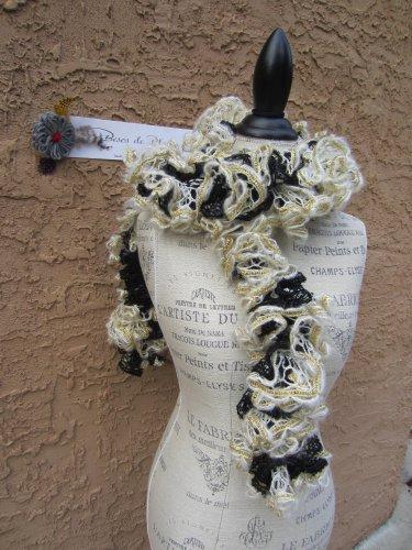 Black GOLD White RUFFLED YARN SCARF New Orleans Saints Team Spirit angora/acrylic/polyester blend