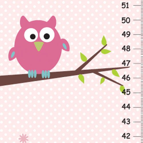 Personalized Growth Chart Owl On Tree Pink Background