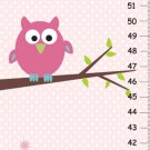 Personalized GROWTH CHART - Owl on tree- Pink background