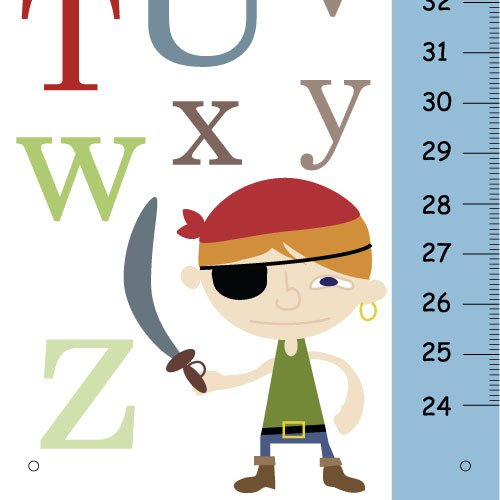 Personalized Growth Chart - ABC Pirate - Nursery wall Art