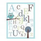 ABC Alphabet Poster print -Owl on branch - nursery wall decor