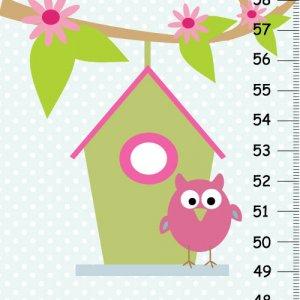 canvas owl height chart nursery wall hanging girls room decor