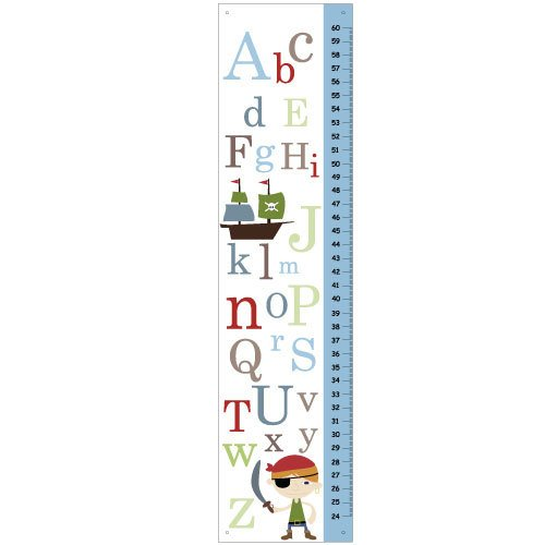 Personalized Boys Canvas ABC Pirate Growth Charts -nursery