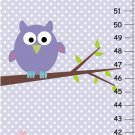 Personalized Canvas Purpel Owl Height Chart-Nursery wall hanging