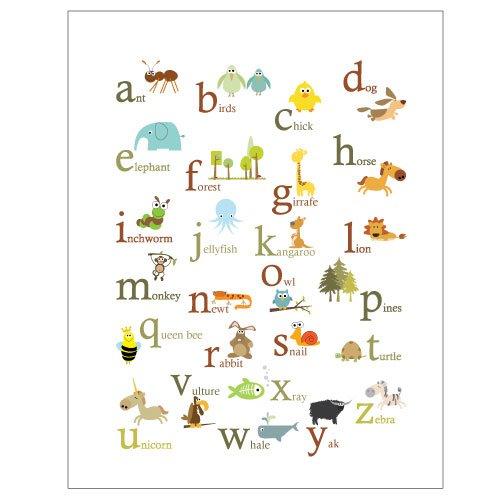 Baby Nursery Art Print Dog Abc Nursery Decor Alphabet Print: Spanish Animals And Nature Alphabet 8x10 -Set Of 2 Posters