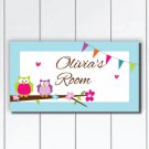 Personalized Girls Door Sign Plaque, Colorful Owls with flower and flags, Nursery Wall Decor