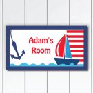 Personalized gift for Boys, Sailing boat and Anchor Door Sign Plaque, Nursery Wall Art