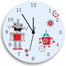 Robot Wooden WALL CLOCK for Boys Bedroom