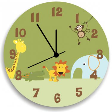 Jungle Animal Safari Wooden WALL CLOCK for Boys Bedroom, Nursery ...