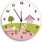 Farm Animal Wooden WALL CLOCK for Girls Bedroom