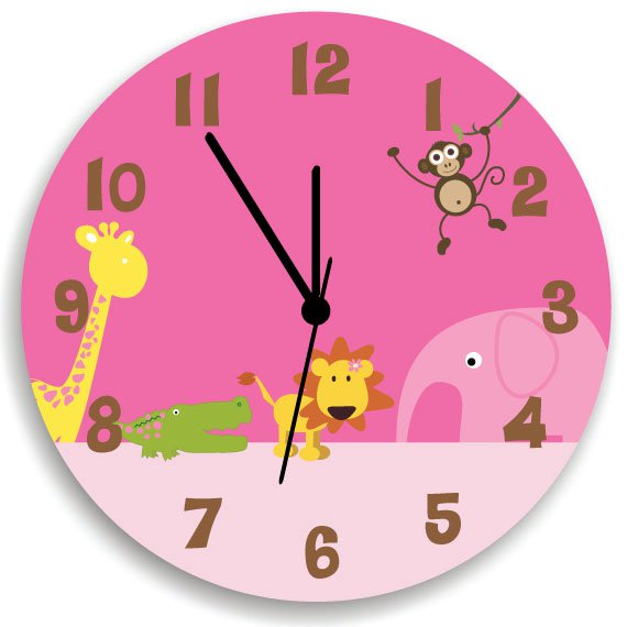 Pink Jungle Animal Safari Wooden Wall Clock For Girls