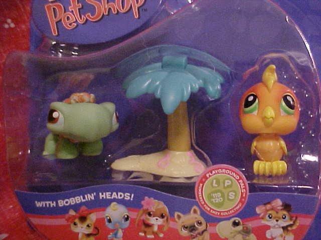 Littlest Pet Shop TURTLE & TOUCAN w/PALM TREE NIP