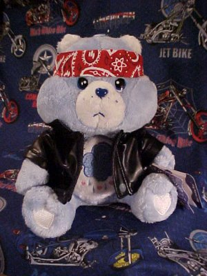 Care Bears BIKER GRUMPY Bear Wear Plush 10in. NWT
