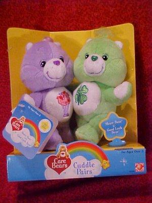 Care Bears Cuddle Pairs SHARE & GOOD LUCK Plush  NIB Free Shipping!