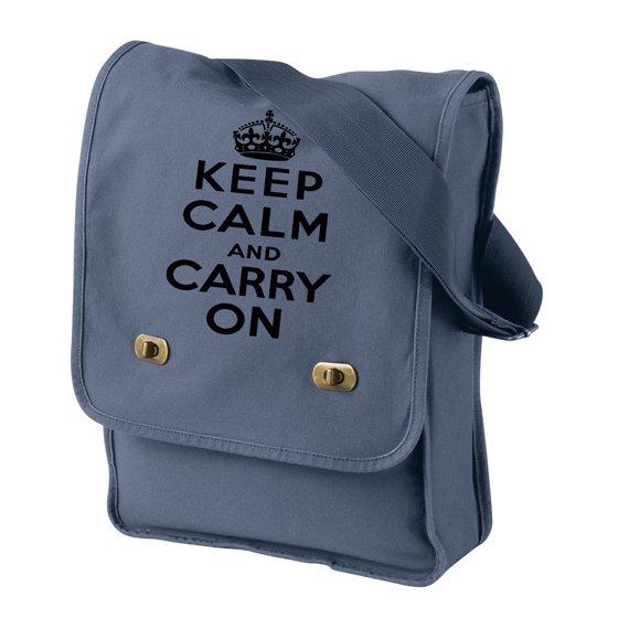 Keep Calm and Carry On - Canvas Messenger Bag Denim Blue Field Bag