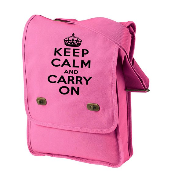Keep Calm and Carry On - Canvas Messenger Bag Pink Field Bag