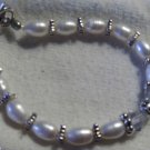 white pearl, crystals and silver bracelet