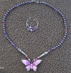 Butterfly crystal and silver necklace