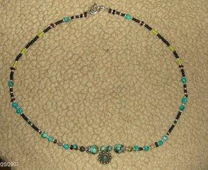 turquiose, semi precious stones, garnets and silver necklace