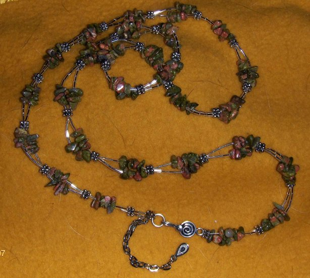 semi precious stones and silver hip belt