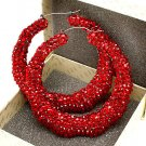 Red Crystal Bamboo Earring