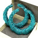 Aqua Blue Crystal Bamboo Earring