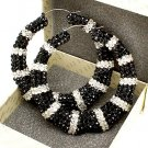 Black and White Crystal Bamboo Earring