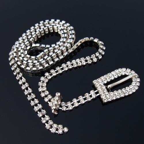 2 row sparkling Rhinestone/Diamante Belt - round buckle