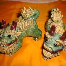 Chinese Pair of colorful Pocelain Foo Dog