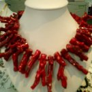 """17"""""""" large red branch coral necklace"""
