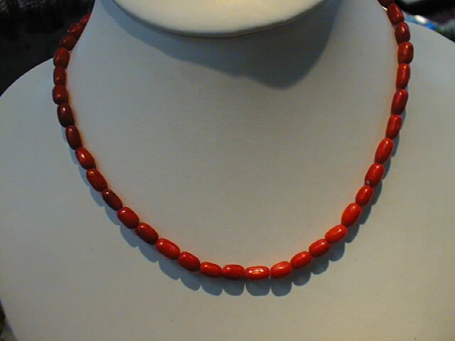 "16"""" red coral rice shape beads necklace"
