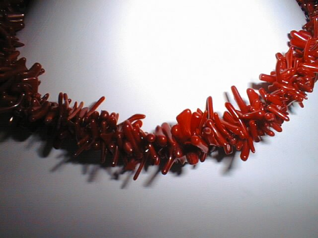"16"""" small red coral branch necklace-2 strands twist"