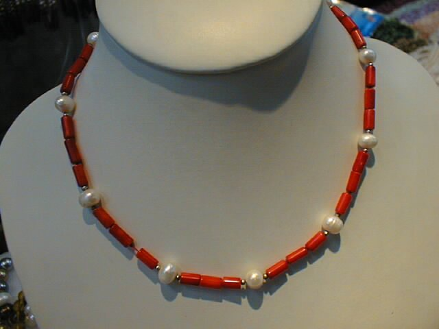 "16"""" coral tube shape necklace & pearl"