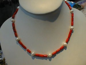 """16"""""""" coral tube shape necklace & pearl"""